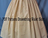 Sewing Instructions for Ladies Costume - Drawstring Waist Long Skirt - PDF Download - DIY - Sew Your Own Pioneer Skirt - Reenactment Costume