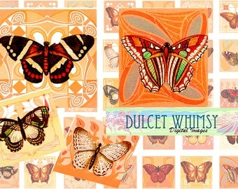 Digital Butterfly on Art Deco pattern inchies, Printable collage mini sheet, jewelry pendant 1x1 inch squares.