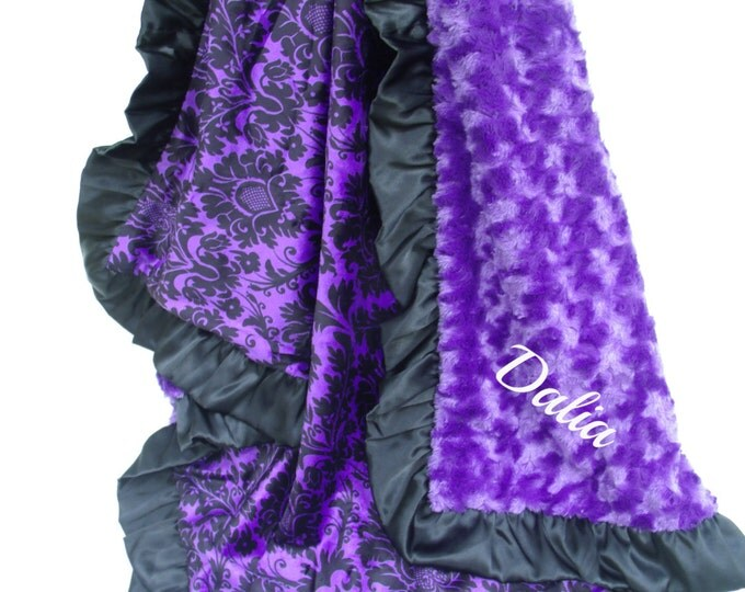 Purple Rose Swirl and Black Gray Damask Minky Baby Blanket, Black Satin Ruffle available in three sizes