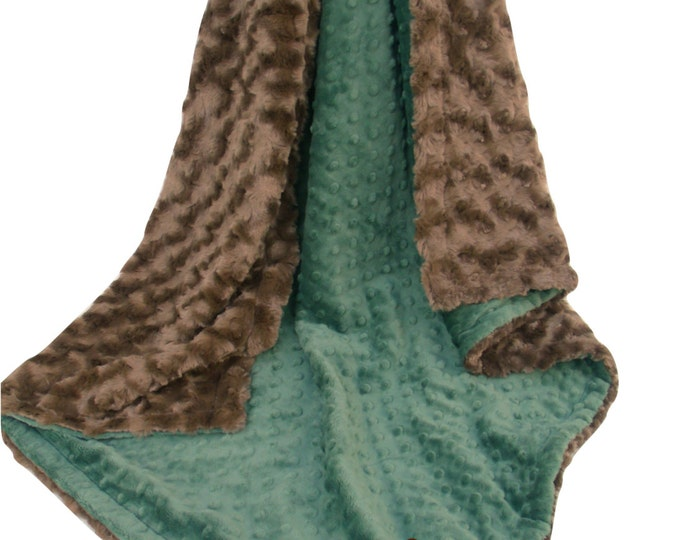 Hunter Olive Green and Brown Minky Blanket for Baby Boy, three sizesCan Be Personalized