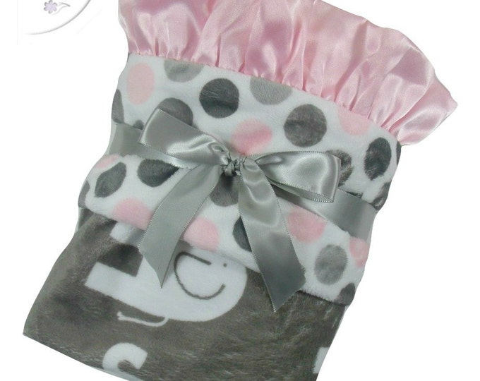 Pink and Gray Mod Polka Dot Elephant Minky Baby Blanket,  3 SizesCan Be Personalized