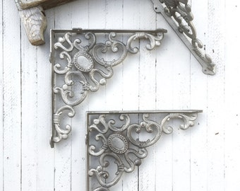 Large Cast Iron Brackets, Plant Hangers, Shelf Decor, Pewter Decor,  French and Garden Decor, Farmhouse Style, Open Shelf Cabinets