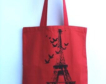 EIFFEL TOWER - Eco-Friendly Market Tote Bag - Hand Screen printed (Ships FREE!)