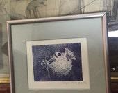 Framed Pufferfish Etching - Globefish etching - Tetraodontidae etching - nautical decor - blue fush etching - blowfish etching - bathroom
