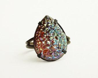 Iridescent Crystal Drusy Ring Metallic Druzy Jewelry Vintage Sugar Stone Ring Adjustable Iridescent Glass Druzy Jewelry