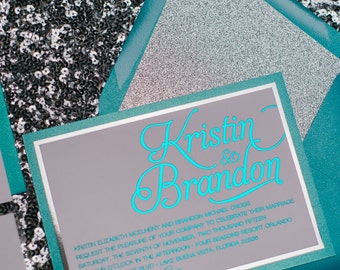 Foil  - Fancy Teal and Silver Glitter Calligraphy Wedding Invitations - SAMPLE (Nicole)