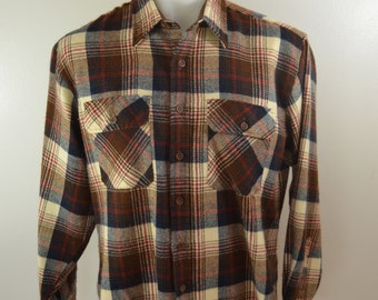 Vintage SEARS plaid flannel shirt Size Large 60's 70's work wear