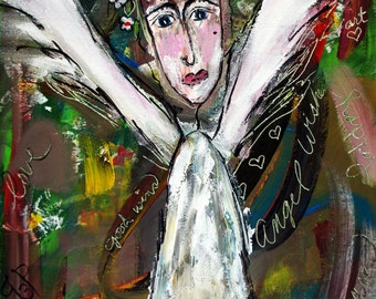 """Angel Painting:  Angel Wishes """"Never Give Up"""""""