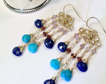 Turquoise Chandelier Earring Colorful Gold Chandelier Turquoise Blue Lapis Garnet Boho Earring Wire Wrap Semiprecious Gemstone