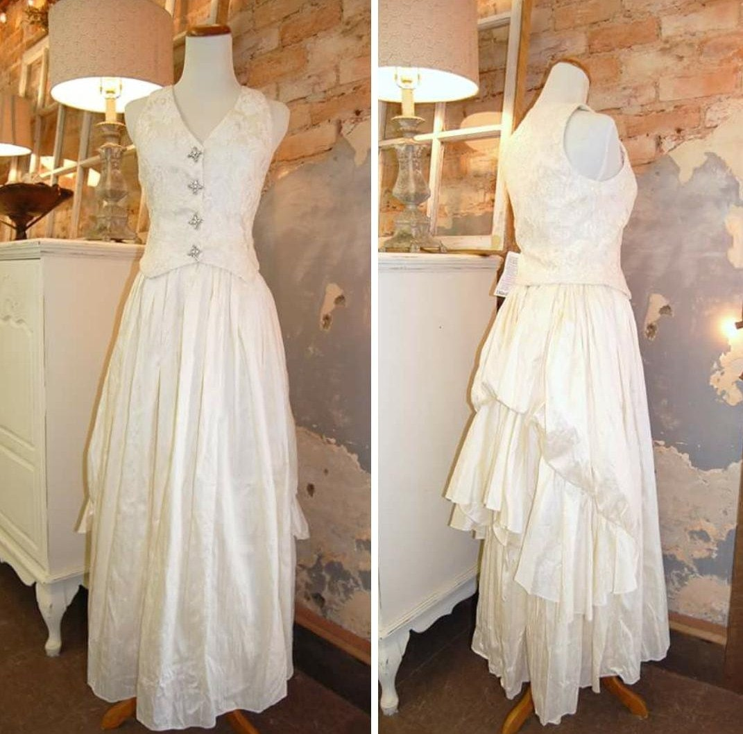 1980s wedding dress jessica mcclintock dupioni silk for Jessica mcclintock wedding dresses outlet