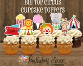 Big Top Circus Party - Set of 24 Assorted Circus Cupcake Toppers by The Birthday House