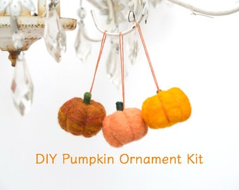 Pumpkin Ornament Needle Felting Kit - Needle Felted Pumpkin Ornament Kit - Beginner Starter Kit - DIY Craft Kit - DIY Home Decor - Fall