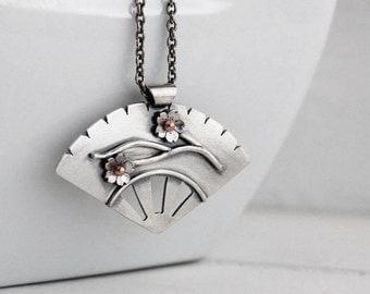 Japanese Fan Pendant, Cherry Blossom fan pendant, statement necklace, Sterling silver handmade Fan pendant by Hapa Girls, Metalsmith