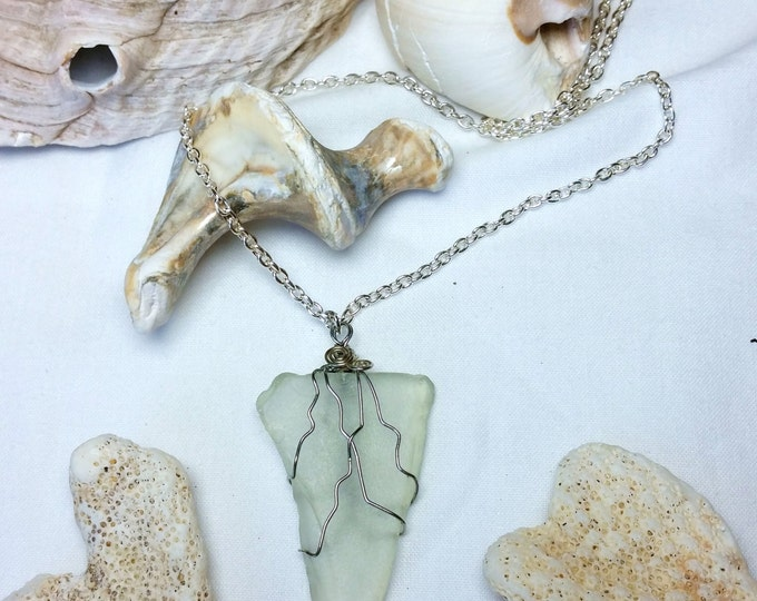 Pale Green Triangular Wire Wrapped Beach Glass Pendant on Chain