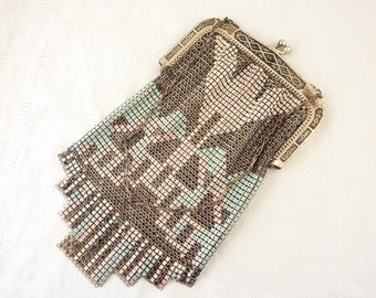 Vintage Whiting and Davis Co. Colorful Geometric Design Mesh Bag