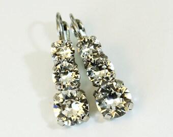 Crystal Clear Earrings Bridal Swarovski Crystal Clear Drop Earrings,Long Bridal Earrings Clear Swarovski crystals, Silver,PURITY, SE45