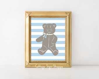 Teddy Bear Nursery Art, Nursery Printable, Boys Nursery, 8 x 10, INSTANT DOWNLOAD, DIY Baby Shower Decor, Boys Nursery Decor