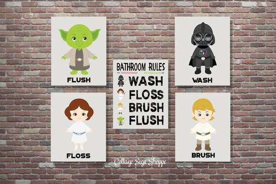 bathroom rules star wars bathroom art star by cottageartshoppe. Black Bedroom Furniture Sets. Home Design Ideas