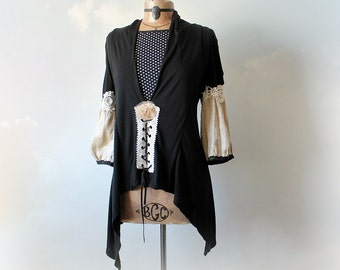 Black Romantic Shirt Bohemian Gypsy Top Lace Up Blouse Puffy Sleeves Renaissance Style Boho Womens Clothing Mori Girl Shabby Tunic L 'SHAWNA