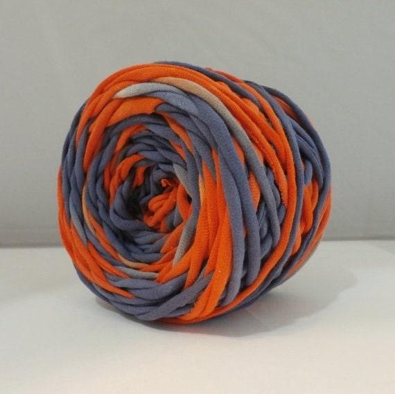 T-Shirt Yarn, Tshirt Yarn, Navy, Red Orange, 60 Yards