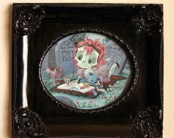 ORIGINAL PAINTING- Wee Emily Dover - Gouache Painting of Skeleton Girl Coloring