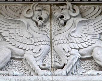 Black & White Print Winged Lions,Mythological Creatures Griffin Architectural Detail,Black White Photography,Washington DC Gryphon Art Print