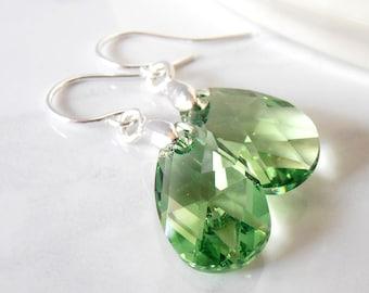 Green Crystal Teardrop Earrings, Peridot Swarovski Crystal Dangles, Sterling Silver, Sparkly Earrings, Light Green Bridesmaid Jewelry