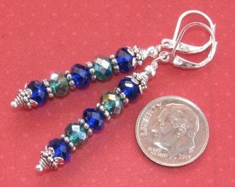 Cobalt Blue Green 6mm CRYSTAL Stick Silver Plated LEVER BACK Earrings Artisan