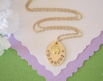 Gold Grandma Necklace Personalized, Nana Gift, Baby Feet Charm, Gold Necklace, Monogram Necklace, GG, Gigi, Nana, New Grandma, Custom