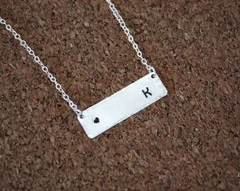 Silver Bar Initial Necklace, Rectangle Necklace Silver, Personalized Necklace, Mother Name Charm Silver, Rectangle, Best Friend
