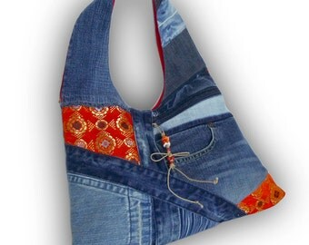 Recycled Old Jeans, Japanese Obi & Old Hand-dyed Indigo Fabric Hobo Bag