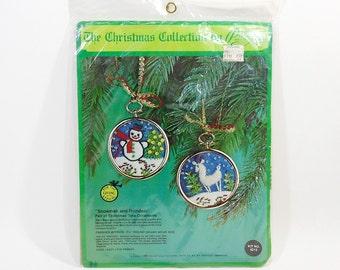 1976 Vintage Christmas Ornament Stitchery Kit   2 Christmas Tree Ornaments   Snowman Reindeer   Needle Craft Kit   Wool Yarn Sequins Frames