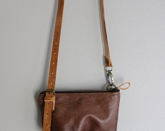 Small Leather Purse - Brown Leather and Vegtan Adjustable Strap