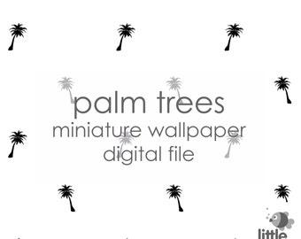 "Digital Download ""Palm trees"" miniature dollhouse wallpaper"