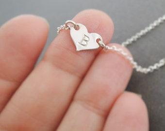 Tiny Heart Bracelet initial bracelet valentines day gift sterling silver bracelet personalised gift for girl