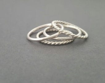 Stackable Rings sterling silver ring thick large stacking rings 14 gauge twist ring and plain round ring Thumb Ring