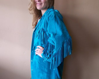 Fringe Leather Jacket, Turquoise suede, 80s Leather jacket, Boho Jacket, size L