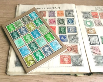 Green Turquoise Upcycled A6 Notebook | Retro kraft journal | Hipster Office, Quirky Postal Gift for Writer | Recycled British postage stamps