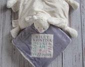 Girls Birth Announcement Sherpa Blanket & Stuffed Animal Pillow, Birth Announcement Gift,  Newborn Baby Gift, Subway Art Announcement, LDM