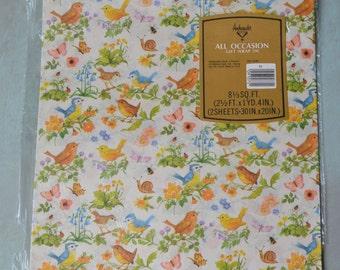 Vintage Birds Bees Butterflies Snails Ambassador Gift Wrap 2 Sheets in Original Package