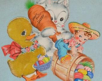 3 Vintage Hallmark Easter Greeting Cards Bunny with Carrot Flocked Duck and Boy