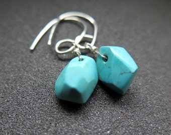 turquoise dangle earrings. natural stone jewelry. sterling silver ear wires. December birthstone.