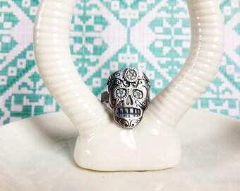 Sugar Skull Ring in Sterling Silver Copper or Bronze Dia De Los Muertos Ring