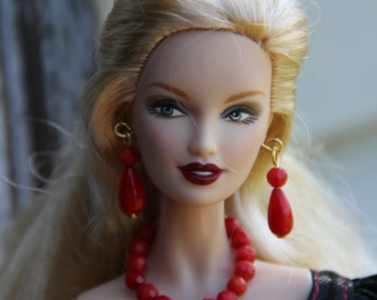 "Red Coral Beaded Teardrop Doll Jewelry Set for 11 1/2"" 12 inch Fashion Dolls 1/6th Scale"