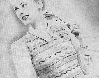 Fair Isle Vest Top for Boy or Lady Vintage knitting Pattern 511