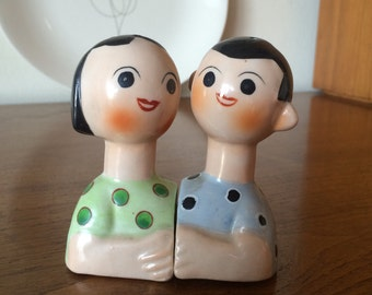 Wonderful Mid Century Modern Man and Woman Salt and Pepper Shakers Made in Japan 50's 60's