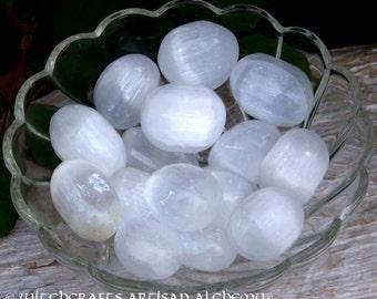 "SELENITE ""Stone of Mental Clarity"" (20mm - 30mm) Tumbled Gemstone in Gift Bag - Decision Making, Psychic Acuity, Angel Lunar Moon Magic"