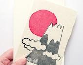 mount fuji and sunrise greeting card. japan postcard. new year's notecard. hand printed illustration post card & envelope on washi paper
