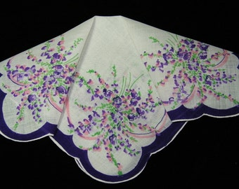 Vintage 1940's Scalloped Linen Pink and Purple Nosegay Bouquet Floral Wedding Handkerchief or Doily, 9707