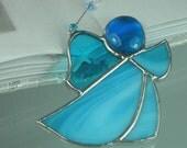Little Sky blue Stained glass Guardian angel Suncatcher Window ornament & Christmas decoration